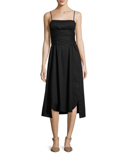Elizabeth and James - Black Oak Waist-tie Poplin Midi Dress - Lyst