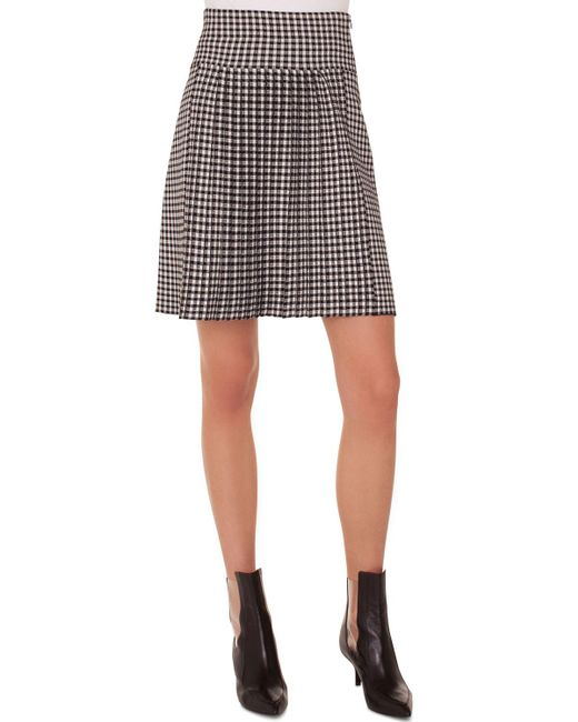 Akris Punto - Black Check Pleated Skirt - Lyst