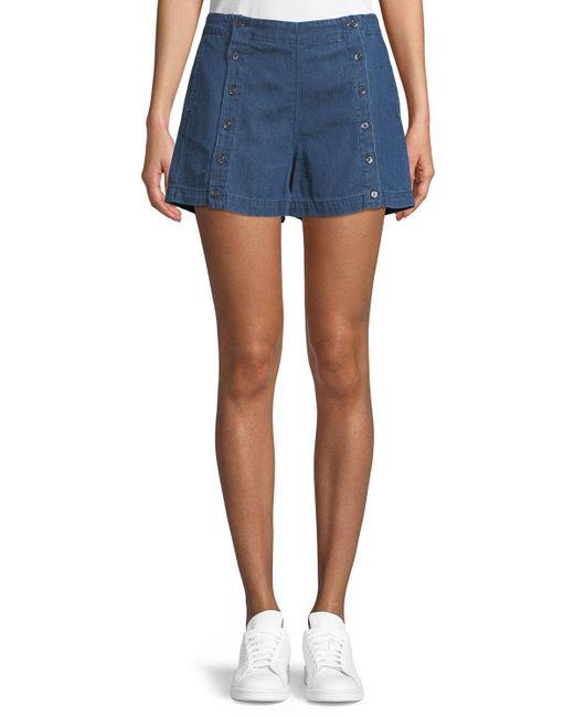 3x1 - Blue Amy Button Denim Shorts - Lyst