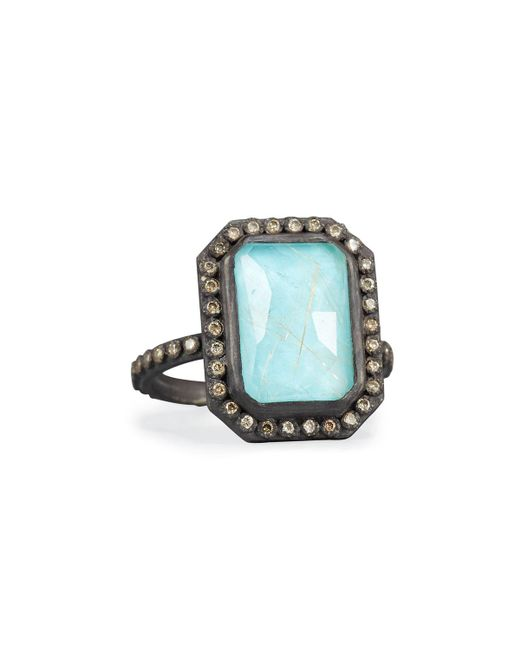 Armenta - Blue Old World Midnight Turquoise & Quartz Doublet Ring With Champagne Diamonds - Lyst