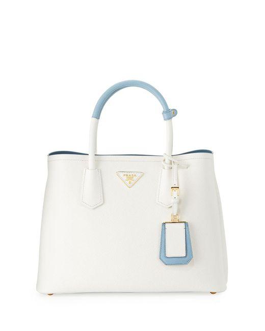 Prada   White Saffiano Cuir Small Double Bag   Lyst