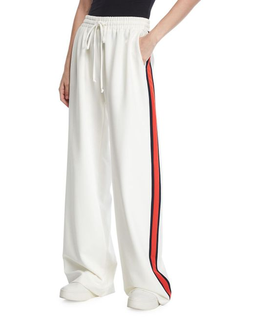 MILLY - White Wide-leg Italian Cady Track Pants - Lyst