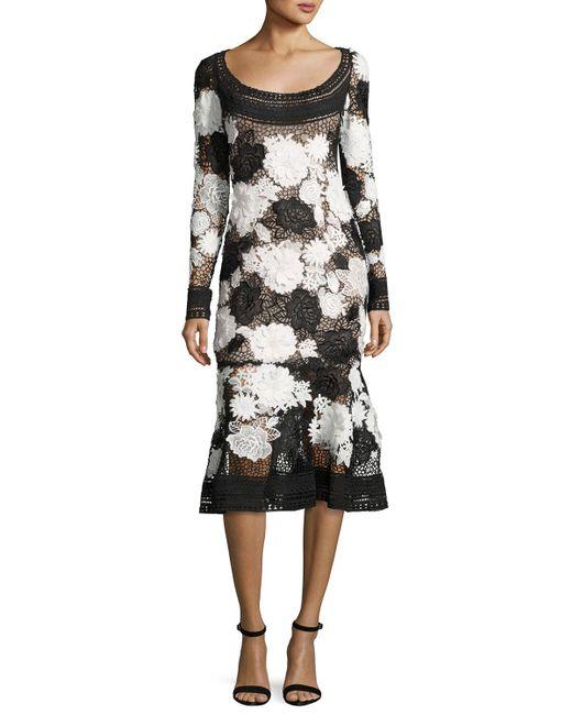 Naeem Khan | Black Two-tone Floral Guipure Lace Flounce Dress | Lyst