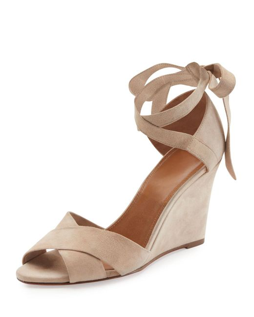 Aquazzura   Multicolor Tarzan Suede Ankle-wrap Wedge Sandal   Lyst