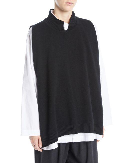 Eskandar - Black Slit High-neck Sleeveless A-line Cashmere Sweater - Lyst