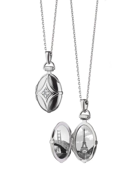 Monica Rich Kosann - Metallic White Sapphire Quatrefoil Locket Necklace - Lyst