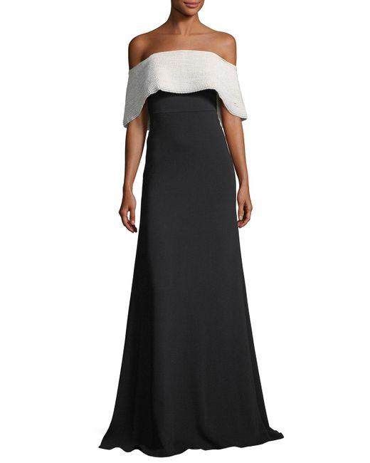 Lela Rose - Black Off-the-shoulder A-line Crepe Evening Gown - Lyst
