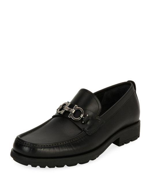 Ferragamo - Black David Suede Lug-sole Loafer for Men - Lyst