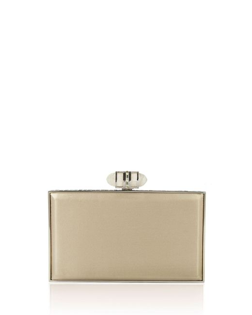 Judith Leiber - White Satin Coffered Rectangle Clutch Bag - Lyst