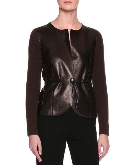 Giorgio Armani - Brown Cashmere Sweater W/leather Front - Lyst