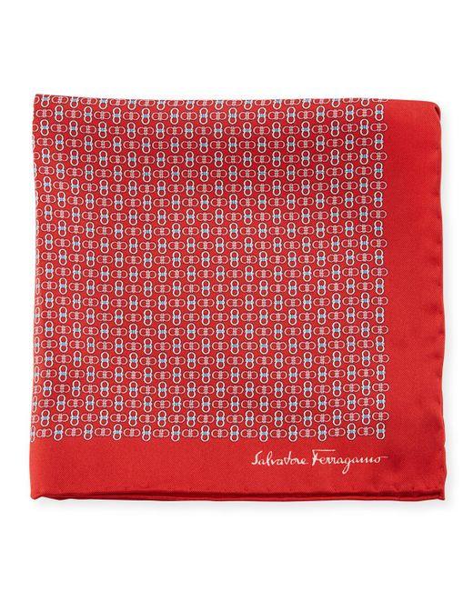 Ferragamo - Red Solid-border Gancini Silk Pocket Square for Men - Lyst
