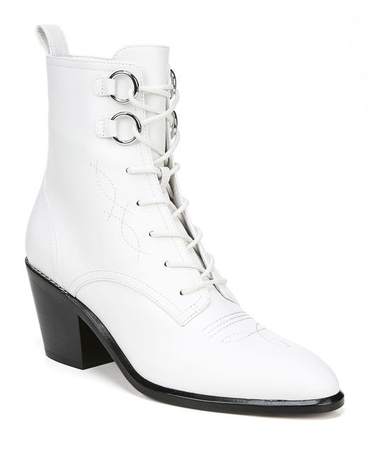 e73ce1c45614 Diane von Furstenberg - White Dakota Leather Lace-up Boots - Lyst ...