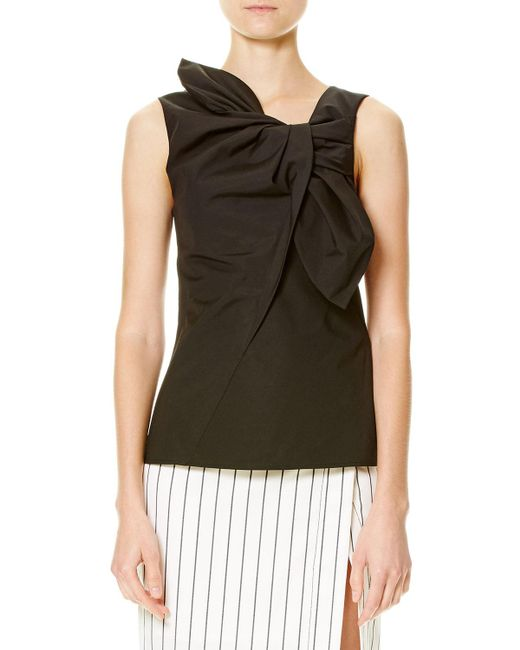 Carolina Herrera - Black Sleeveless Cotton-blend Bow Top - Lyst