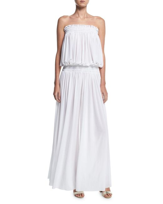 Norma Kamali - White Strapless Peasant Wide-leg Coverup Jumpsuit - Lyst