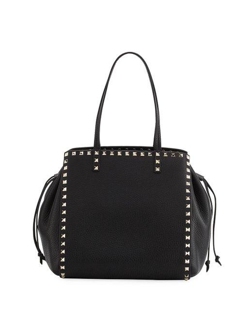 Valentino | Black Rockstud Double Handle Tote Bag | Lyst