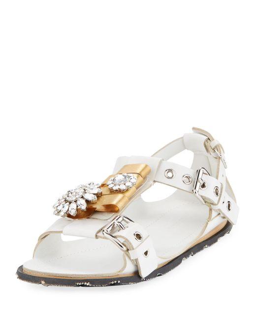 Miu Miu - White Two-tone Jeweled Flat Sandal - Lyst