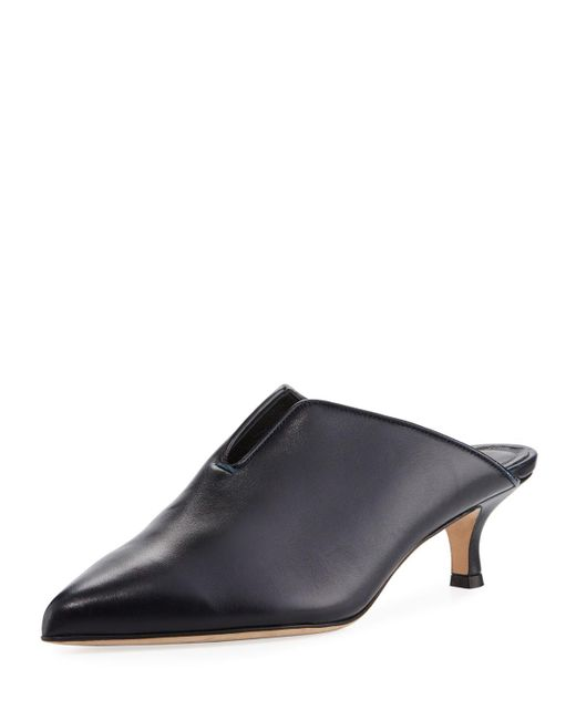 Tibi | Blue Dana Leather Low-heel Mule Pump | Lyst