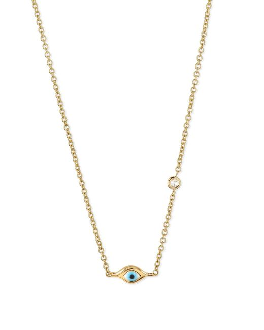 Sydney Evan - Metallic 14k Gold Evil Eye Necklace With Single Diamond - Lyst
