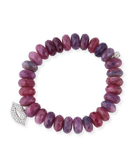 Sydney Evan - Pink 12mm Beaded Ruby Rondelle Bracelet With Diamond Lips Charm - Lyst