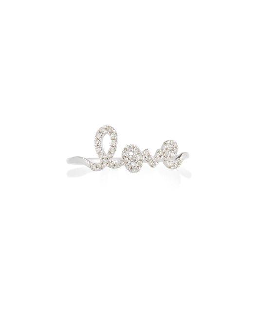 Sydney Evan - Multicolor 14k White Gold Diamond Love Script Ring - Lyst