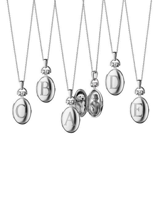 Monica Rich Kosann Metallic Petite Sterling Silver Initial Locket Necklace