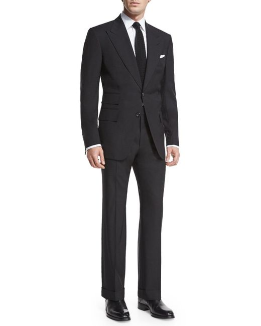 Tom Ford - Black Windsor Base Peak-lapel Two-piece Suit for Men - Lyst