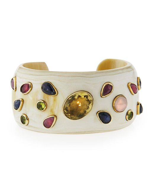 Ashley Pittman | White Ungana Mixed Stone Cuff Bracelet | Lyst