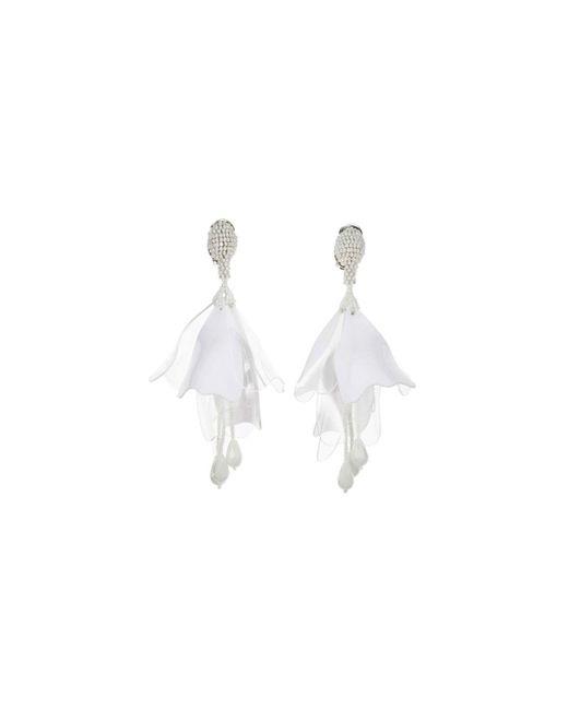 Oscar de la Renta - White Impatiens Flower Drop Earrings - Lyst