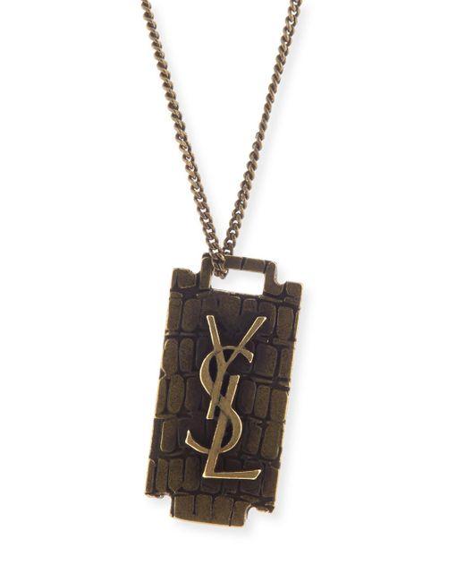 Saint Laurent   Metallic Men's Monogram Razor Blade Necklace   Lyst