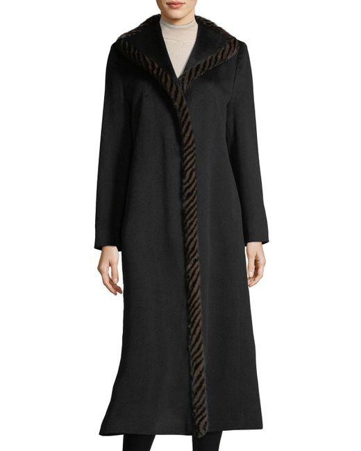 Fleurette - Black Magnetic Wool Duster Coat W/ Spiral Mink Fur - Lyst