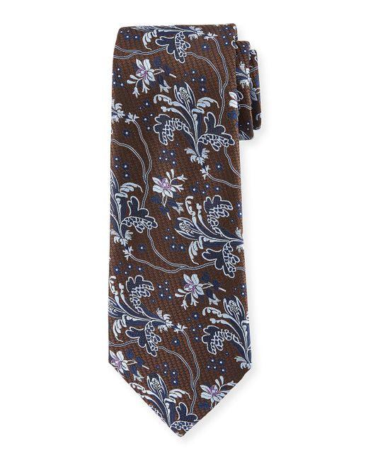 Ermenegildo Zegna - Blue Large-floral Silk Tie for Men - Lyst