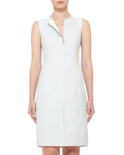 Akris   White Sleeveless Zip-front Sheath Dress   Lyst
