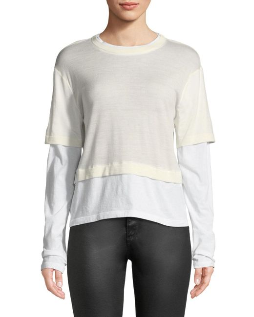 T By Alexander Wang - White Fine-gauge Layered Cropped Top - Lyst