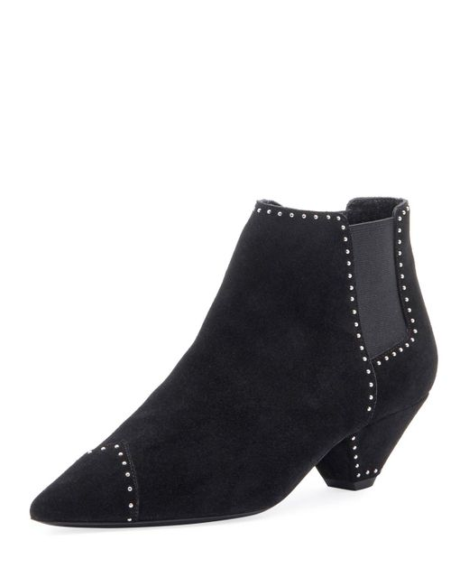 e13ece2fed5 Saint Laurent - Black Studded Suede Ankle Booties - Lyst ...