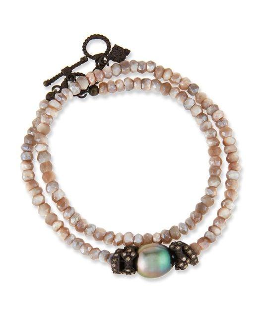 Armenta   Metallic Old World Mystic Moonstone & Pearl Bracelet With Champagne Diamonds   Lyst