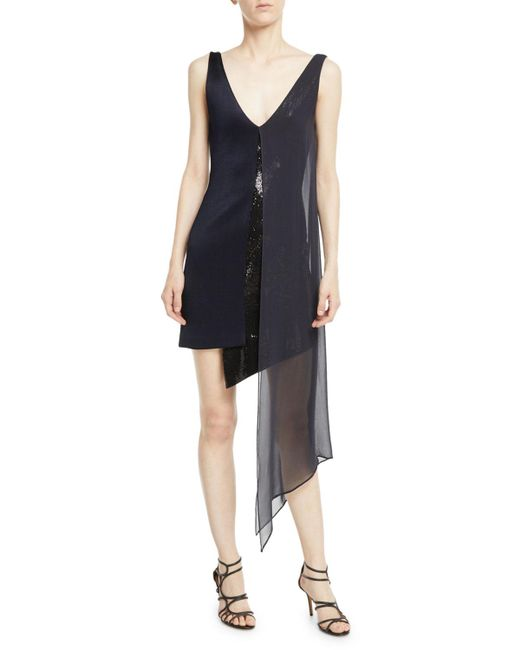 Galvan - Blue Sleeveless V-neck High-shine Jersey Cocktail Dress W/ Sequins & Chiffon Overlay - Lyst