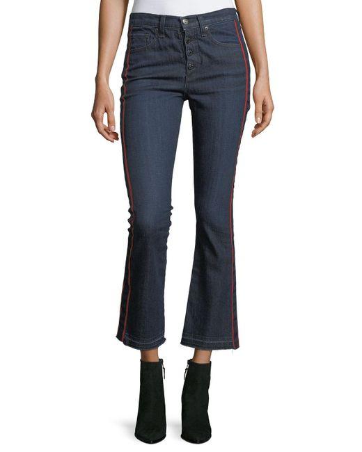 Veronica Beard Blue Carolyn Baby Boot Cropped Jeans W/ Tux Stripes