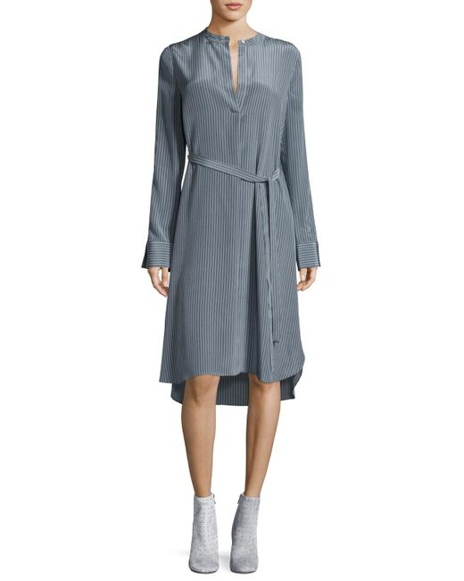 Robert Rodriguez | Blue Striped Silk Long-sleeve Shirtdress | Lyst