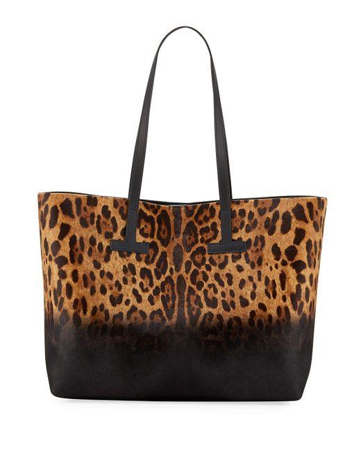 Tom Ford - Black Leopard-print Calf Hair T Tote Bag - Lyst