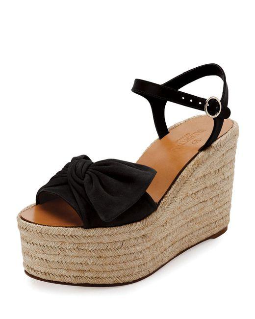 Valentino - Black Tropical Bow Espadrille Wedge Sandal - Lyst