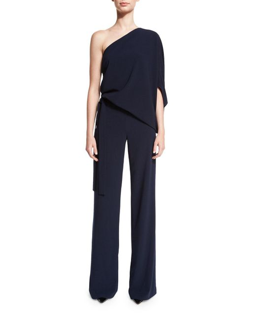 Halston Heritage - Blue One-shoulder Draped Stretch Crepe Jumpsuit - Lyst