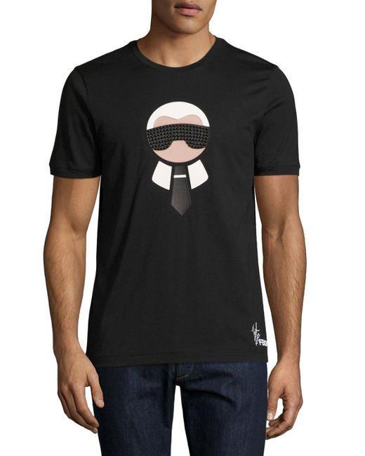 Fendi | Black Karlito Studded Short-sleeve Tee for Men | Lyst