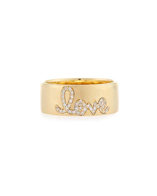 Sydney Evan - Metallic Pavé Diamond Love Ring - Lyst