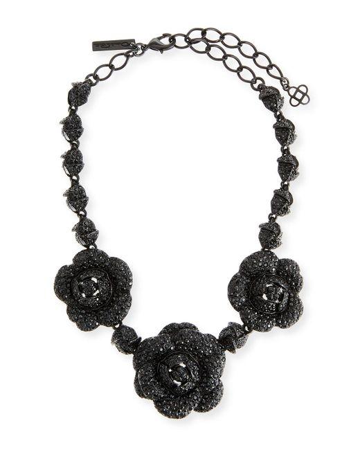 Oscar de la Renta - Multicolor Gardenia Pavé Swarovski Crystal Necklace - Lyst