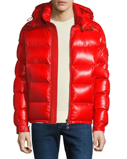 e1fdda19b497 Moncler - Red Men s Maya Shiny Down Puffer Jacket With Hood for Men - Lyst  ...