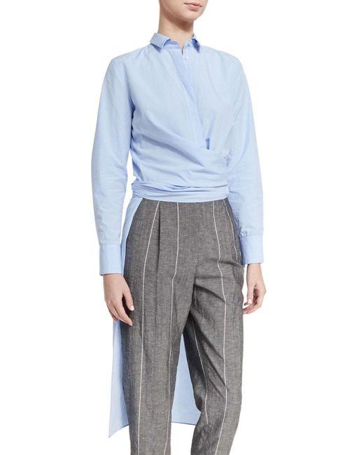 Brunello Cucinelli - Blue Wrap-waist High-low Tunic Shirt - Lyst