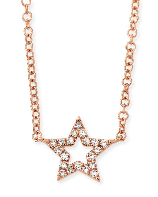 EF Collection - Metallic 14k Rose Gold Diamond Open Star Necklace - Lyst