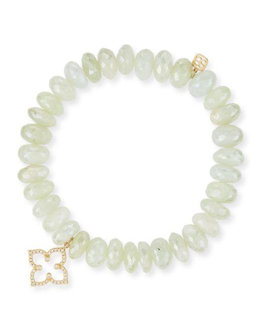 Sydney Evan | Green 10mm Prenite Beaded Bracelet W/14k Gold Diamond Flower Charm | Lyst