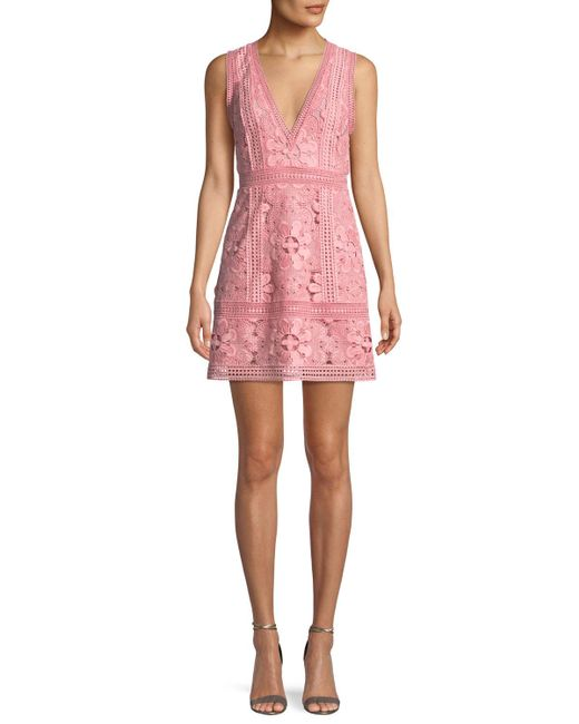 Alice + Olivia - Pink Zula Sleeveless V-neck Lace Mini Party Dress - Lyst