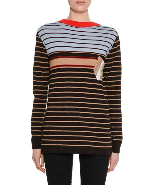 Marni - Black Crewneck Long-sleeve Striped Wool-knit Sweater W/ Pocket Detail - Lyst